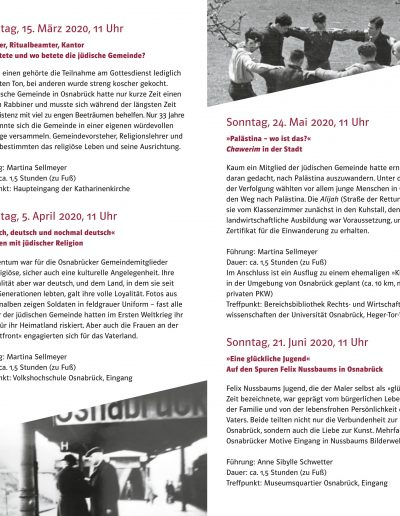 »Auf den Spuren jüdischer Geschichte« Osnabrücker Stadtrundgänge Faltblatt mit Terminen 2020