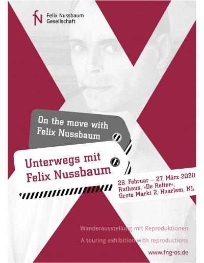 Keyvisual »Die Wanderausstellung ›Unterwegs mit Felix Nussbaum‹ in Haarlem«, Deutsch – English, Nederlands – English