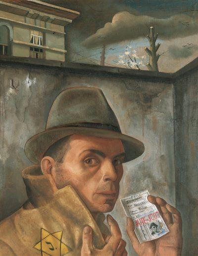Felix Nussbaum, Selbstbildnis mit Judenpass, um 1943 Öl auf Leinwand, 56×49cm Felix-Nussbaum-Haus Osnabrück Leihgabe der Niedersächsischen Sparkassenstiftung Werkverzeichnis Nr. 439